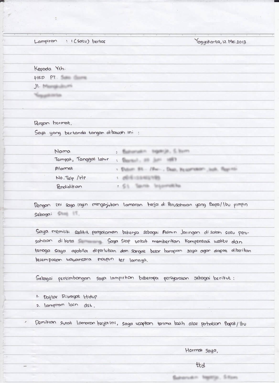 Contoh Surat Lamaran Kerja Tulis Tangan Fresh Graduate Wajib Baca Rajaloker Artikel