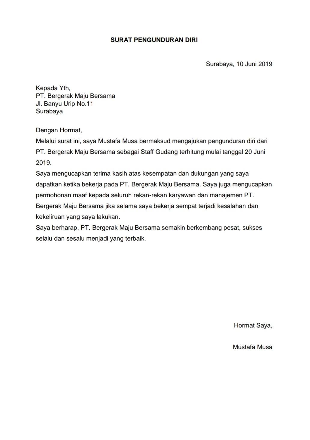 Contoh Surat Pengunduran Diri Atau Surat Resign Karyawan Dari Suatu Perusahaan Rajaloker Artikel